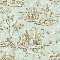Wallpaper Designer Blue & Brown Historic French Toile